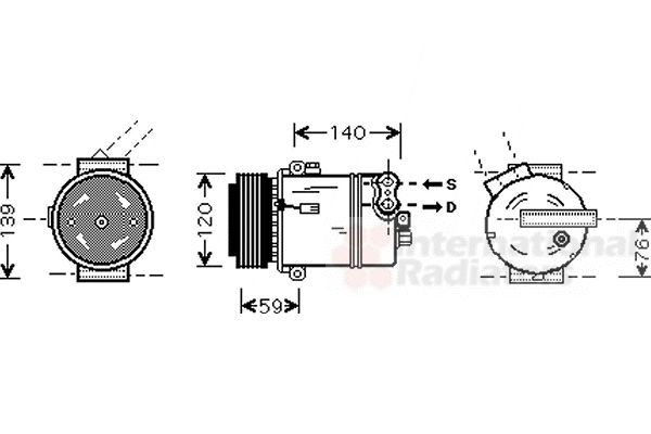 Compresseur, climatisation - VAN WEZEL - 3700K409