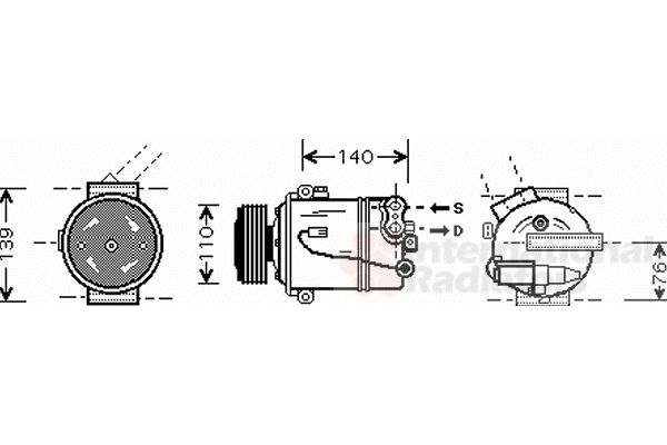 Compresseur, climatisation - VAN WEZEL - 3700K410