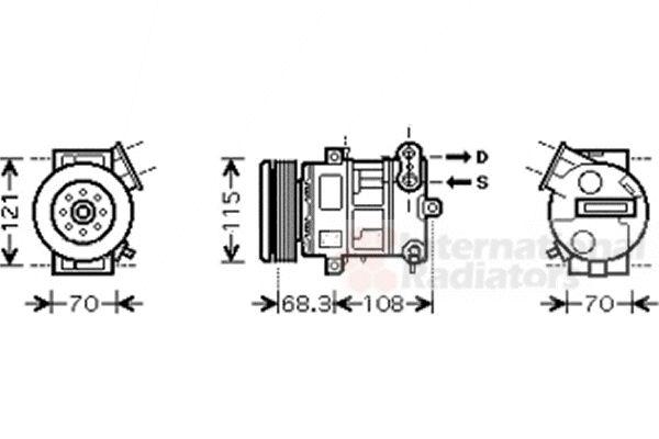 Compresseur, climatisation - VAN WEZEL - 3700K418
