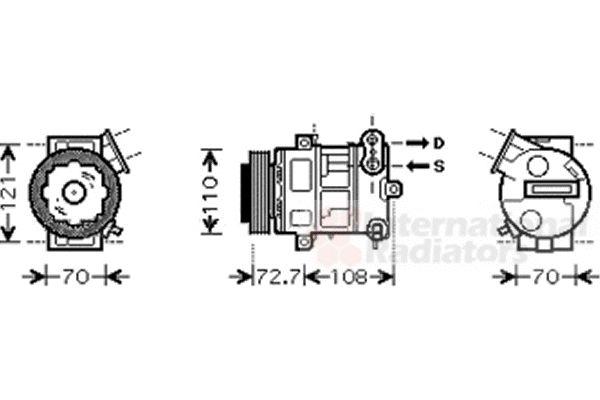Compresseur, climatisation - VAN WEZEL - 3700K419