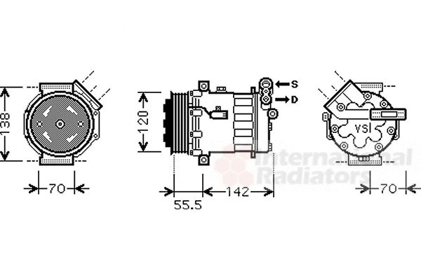 Compresseur, climatisation - VAN WEZEL - 3700K447