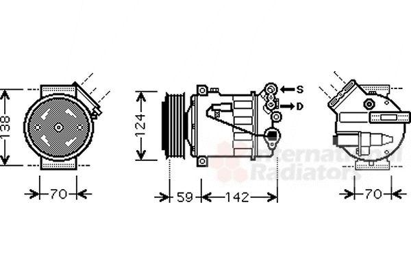 Compresseur, climatisation - VAN WEZEL - 3700K450