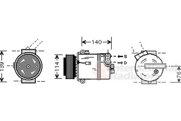 Compresseur, climatisation - VAN WEZEL - 3700K451