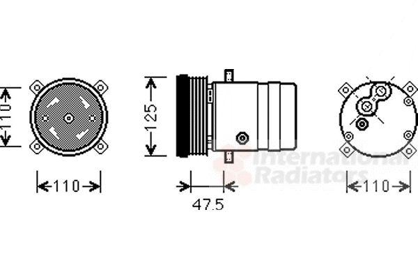 Compresseur, climatisation - VAN WEZEL - 3700K493