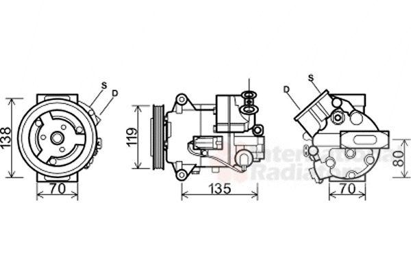 Compresseur, climatisation - VAN WEZEL - 3700K495