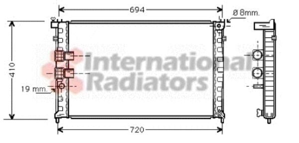 Radiateur, refroidissement du moteur - VAN WEZEL - 40002231