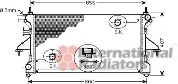 Radiateur, refroidissement du moteur - VAN WEZEL - 40002304