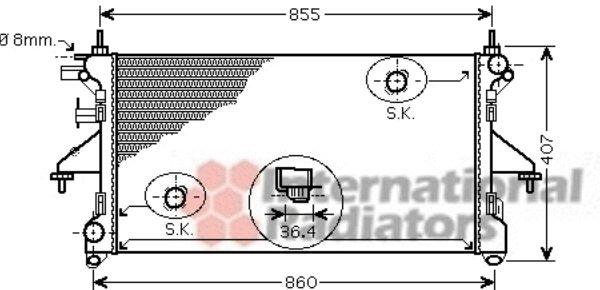 Radiateur, refroidissement du moteur - VAN WEZEL - 40002305