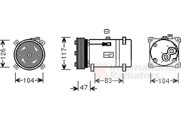 Compresseur, climatisation - VAN WEZEL - 4000K066
