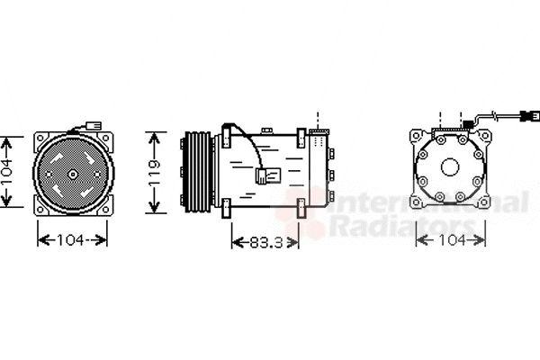 Compresseur, climatisation - VAN WEZEL - 4000K225