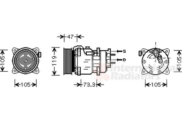 Compresseur, climatisation - VAN WEZEL - 4000K242