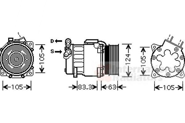 Compresseur, climatisation - VAN WEZEL - 4000K306