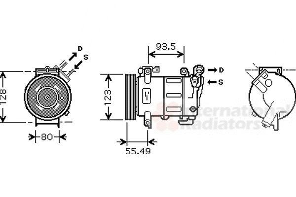 Compresseur, climatisation - VAN WEZEL - 4000K316