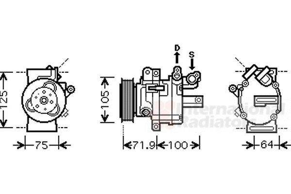 Compresseur, climatisation - VAN WEZEL - 4000K317