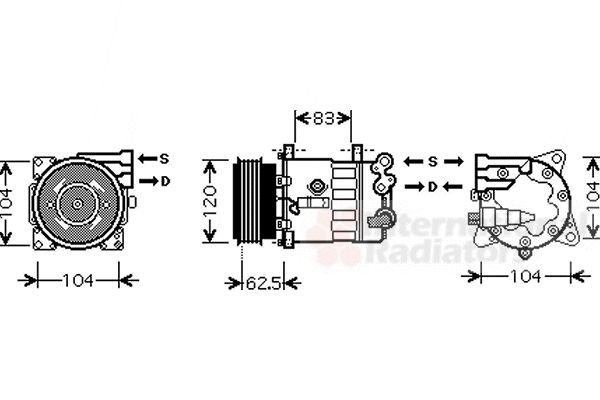 Compresseur, climatisation - VAN WEZEL - 4000K321