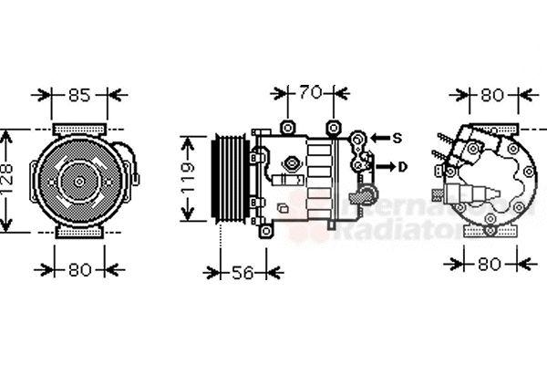 Compresseur, climatisation - VAN WEZEL - 4000K322