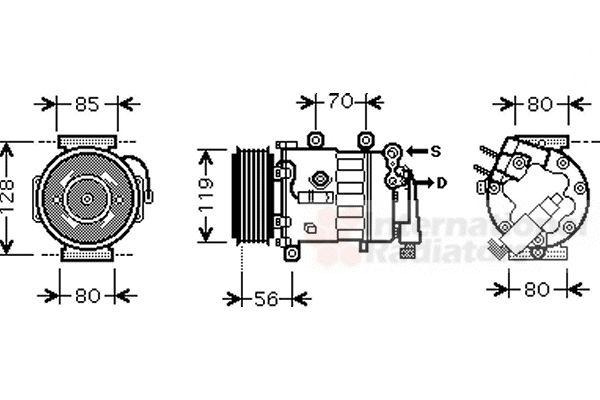 Compresseur, climatisation - VAN WEZEL - 4000K324