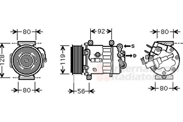 Compresseur, climatisation - VAN WEZEL - 4000K327