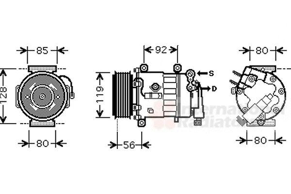 Compresseur, climatisation - VAN WEZEL - 4000K328