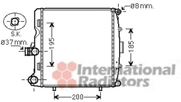 Radiateur, refroidissement du moteur - VAN WEZEL - 74002055