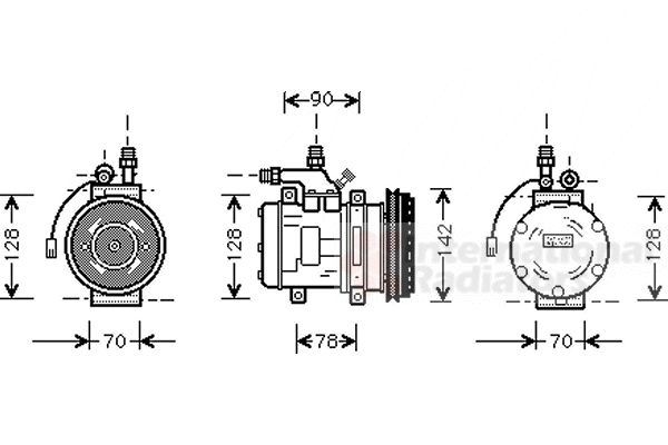 Compresseur, climatisation - VAN WEZEL - 7400K029