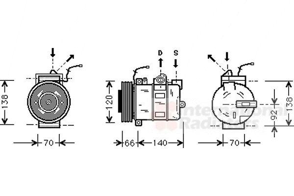 Compresseur, climatisation - VAN WEZEL - 7400K040