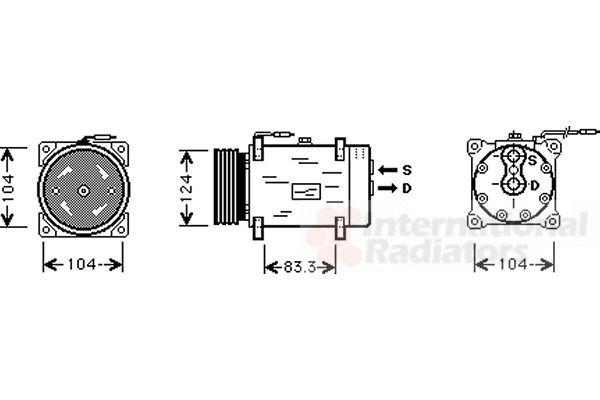 Compresseur, climatisation - VAN WEZEL - 4300K038
