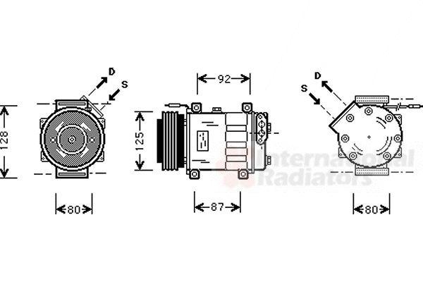 Compresseur, climatisation - VAN WEZEL - 4300K046