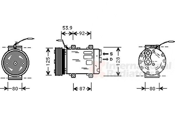 Compresseur, climatisation - VAN WEZEL - 4300K073