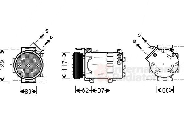 Compresseur, climatisation - VAN WEZEL - 4300K076