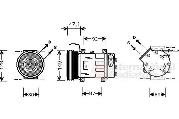 Compresseur, climatisation - VAN WEZEL - 4300K106