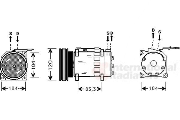 Compresseur, climatisation - VAN WEZEL - 4300K282