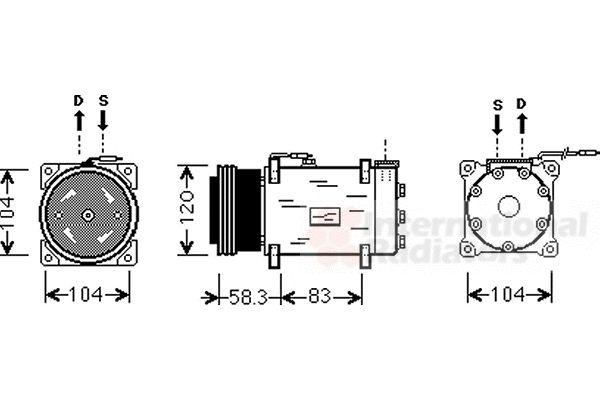 Compresseur, climatisation - VAN WEZEL - 4300K284