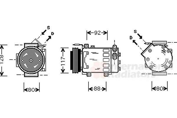 Compresseur, climatisation - VAN WEZEL - 4300K285