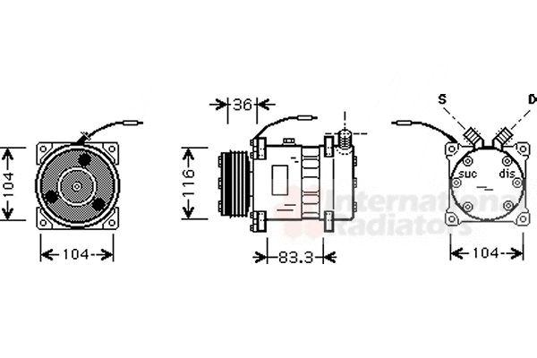 Compresseur, climatisation - VAN WEZEL - 4300K318