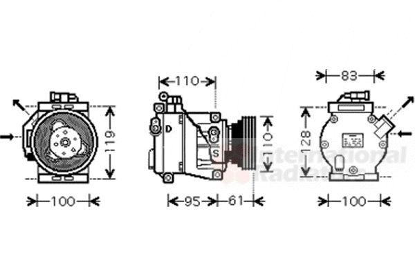 Compresseur, climatisation - VAN WEZEL - 4300K368