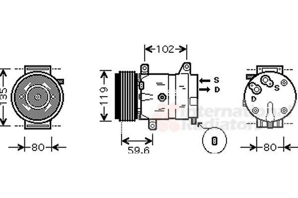 Compresseur, climatisation - VAN WEZEL - 4300K385