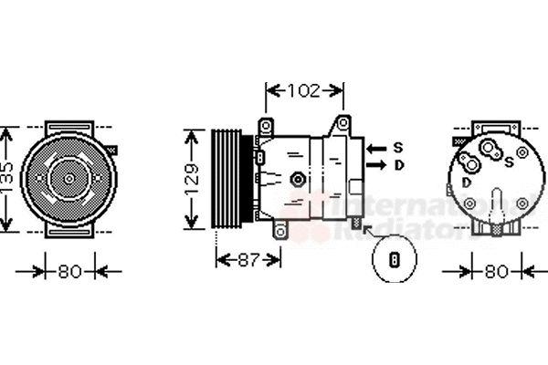 Compresseur, climatisation - VAN WEZEL - 4300K386