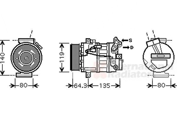 Compresseur, climatisation - VAN WEZEL - 4300K394