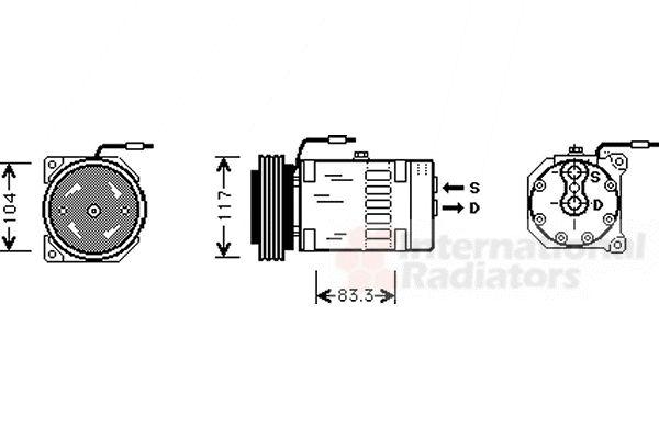 Compresseur, climatisation - VAN WEZEL - 4300K403