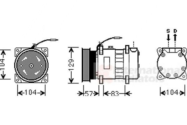 Compresseur, climatisation - VAN WEZEL - 4300K436