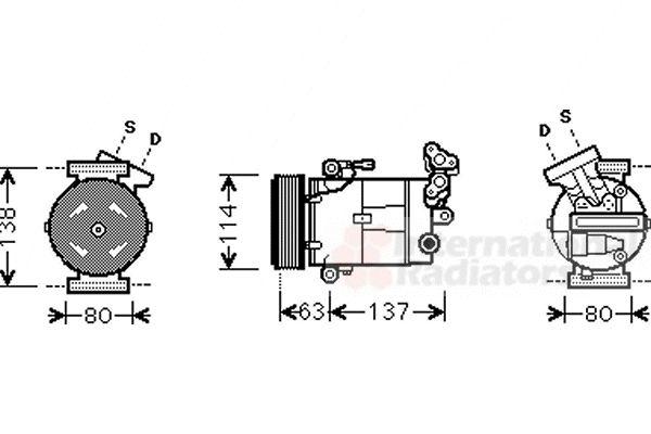 Compresseur, climatisation - VAN WEZEL - 4300K437