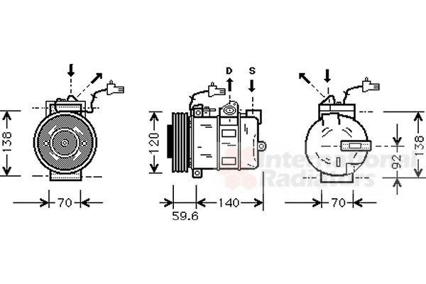Compresseur, climatisation - VAN WEZEL - 4700K054