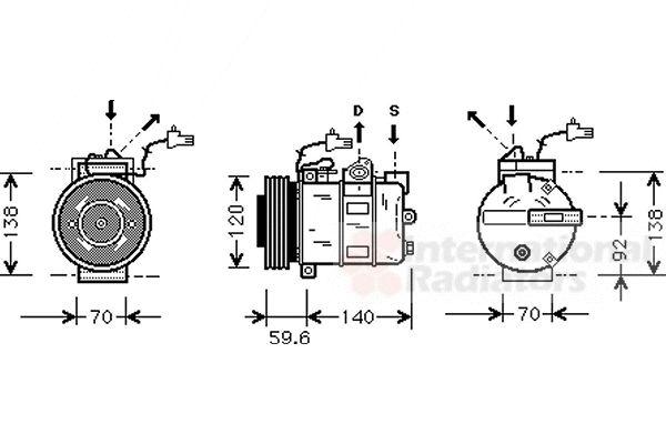 Compresseur, climatisation - VAN WEZEL - 4700K065