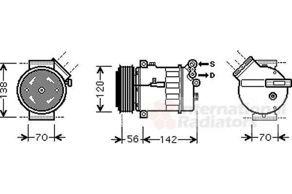 Compresseur, climatisation - VAN WEZEL - 4700K067