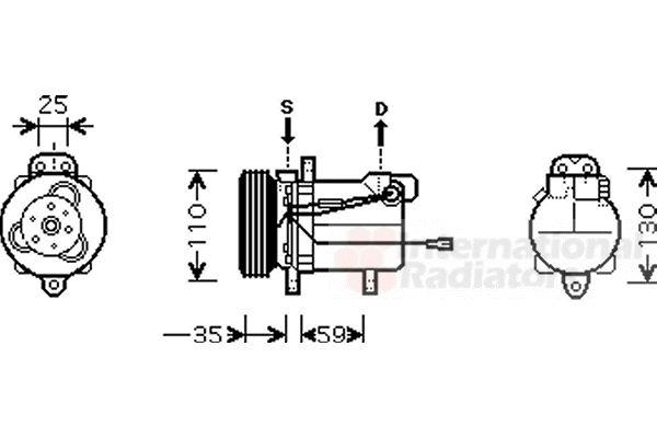 Compresseur, climatisation - VAN WEZEL - 5200K069