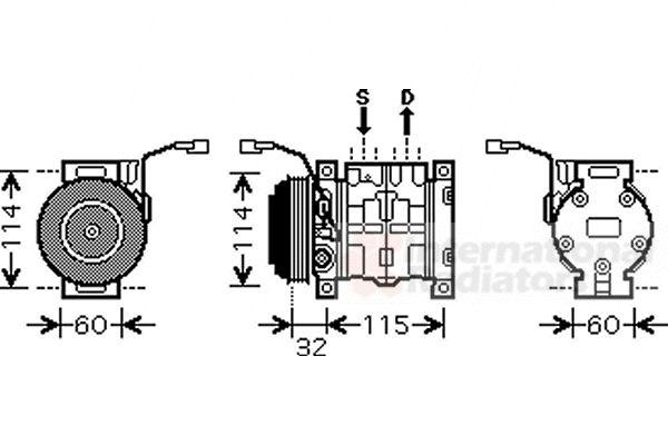 Compresseur, climatisation - VAN WEZEL - 5200K110