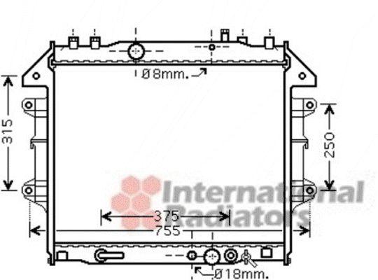 Radiateur, refroidissement du moteur - VAN WEZEL - 53002496