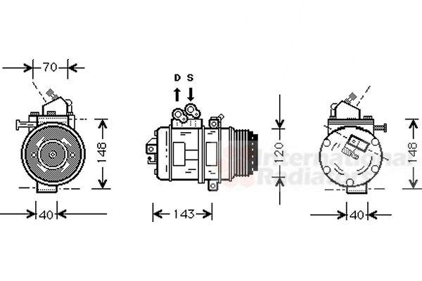 Compresseur, climatisation - VAN WEZEL - 5300K003