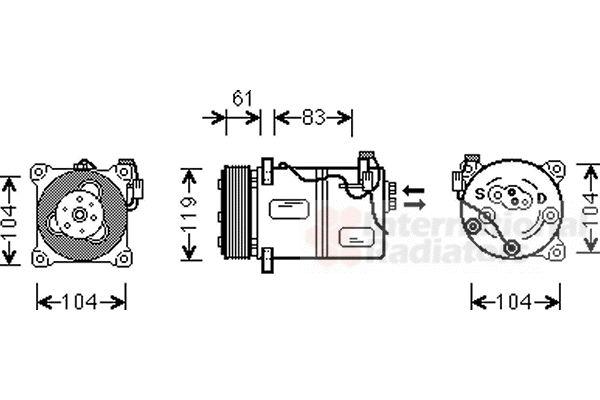 Compresseur, climatisation - VAN WEZEL - 5900K059